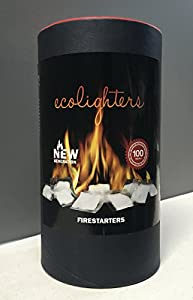100 Box Of Oryginal Ecolighters- Firelighters - Box- Barrel Of 100 Sachets For Open Fires -stoves-bbq Grate For Grill Cooking -fire Pit Lighting Or Burning Wood In Fireplaces - Firestarters by Galleon Fires