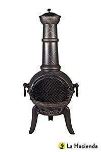 105cm Bronze Cast Ironsteel Mix Chiminea Chimenea With Swing Out Grill Bbq