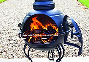 107cm Black Steel Chiminea Chimenea With Pull Out Grill