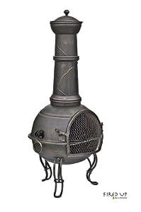 107cm Bronze Steel Chimenea Chiminea With Bbq Grill