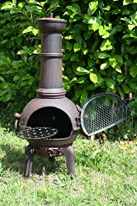 125cm Bronze Red Large Cast Ironsteel Mix Chiminea Chimenea With Swing Out Grill