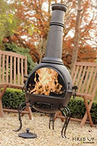 136cm Black Steel Chiminea Chimenea With Bbq Grill