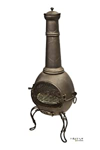 136cm Bronze Steel Chimenea Chiminea With Bbq Grill
