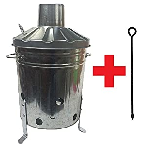 15 Litre 15l Small Mini Galvanised Metal Incinerator Recycle Garden Rubbish Fire Burning Binwith Free Poker from UK