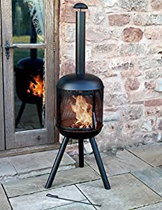 165cm Extra Large Huntsville Garden Chimenea Black Metal 360 Heat Outdoor Patio by Marko