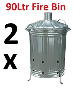 2 X 90ltr Garden Burning Fire Incinerator Galvanised Bin Burning Wood Leaves Rubbish from BHT