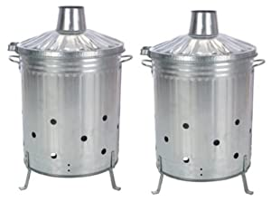 2 X Galvanised Incinerator Fire Bin Garden Wood Rubbish Leaves Burner 90l Litre