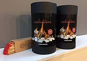200 Ecolighters For Woodburner Bbq Open Fires Fire Pit - Firelighters Matches - Barrel Of 100 X 2 With Free Matches Ecolighters by Ecolighters®