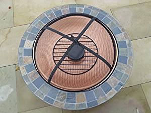 2015 Gladiator Tuscany Garden Patio Fire Pit Round Slate Mozaic Tiled Decking Heater Metal Firepit Brazier Barbecue Table by Gladiator firepits