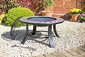 2nd Mosaic Style 76cm Diameter Fire Pit Bbq Brazier With Mesh Cover