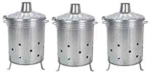 3 X Galvanised Incinerator Fire Bin Garden Wood Rubbish Leaves Burner 90l Litre