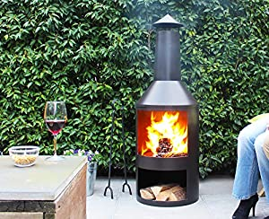 4ft 4 Extra Large Chimenea Black Fire Pit Burner Patio Heater Outdoor Garden from Marko