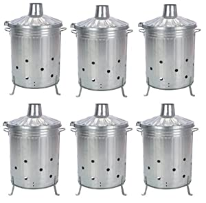 6 X Galvanised Incinerator Fire Bin Garden Wood Rubbish Leaves Burner 90l Litre