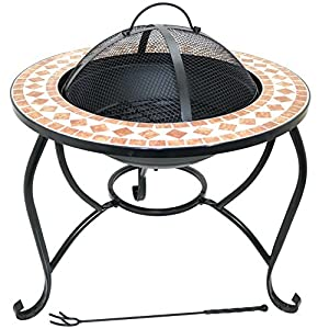 60cm Fire Pit Round Outdoor Mosaic Garden Brazier Patio Heater Stove Firepit by Marko