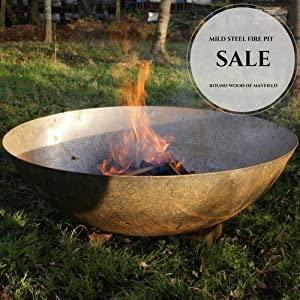 60cm Steel Dish Bowl Fire Pit Burner Wood Burner Garden Heating  from Round Wood Trading