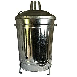 60l Liter Metal Galvanised Garden Incinerator Fire Bin Burning Leaves Paper Wood Rubbish Dustbin Made In U K by UK