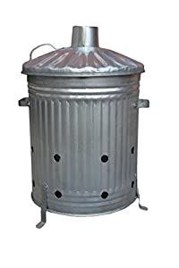 60l Litre Galvanised Garden Incinerator Burning Bin Free Tongs by S&MC Gardenware
