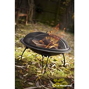 61cm Diameter Black Steel Firebowl Pit by La Hacienda