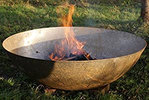 80cm Steel Dish Bowl Fire Pit Burner Wood Fire Garden Heater from Round Wood Trading