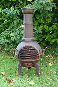 85cm Cast Ironsteel Chiminea With Swing Out Grill
