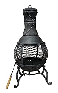 89cm Bentley Open Bowl Mesh Cast Iron Chimenea Patio Heater Black Bronze from Bentley