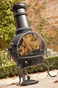 89cm Black Steel Chimenea Chiminea With Pull Out Cooking Grill