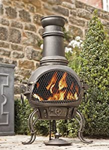 89cm Bronze Steel Chiminea Chimenea With Cooking Grill