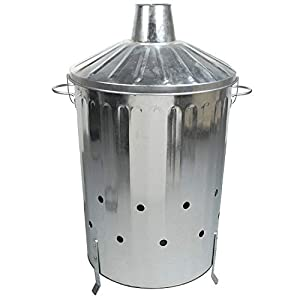 90 Litre 90l Extra Large Galvanised Metal Incinerator Recycle Garden Rubbish Fire Burning Bin With Lid by UK
