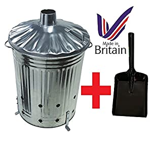 90 Litre 90l Extra Large Galvanised Metal Incinerator Recycle Garden Rubbish Fire Burning Binwith Free Shovel by UK