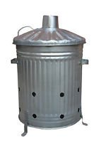 90 Litter Extra Large Galvanised Metal Incinerator Fir Burning Bin With Locking Lid by uk