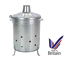 90l 90 Litre Galvanised Incinerator Fire Bin Ideal For Burning Documents Leaves Rubbish from S&MC Gardenware