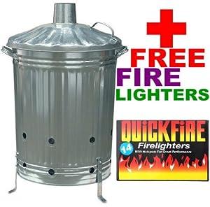 90l Galvanised Incinerator Fire Bin Garden Wood Paper Leave Burner Firelighter from UK