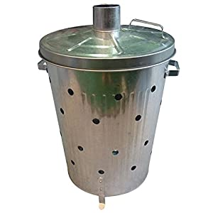 90l Galvanised Incinerator Fire Bin With Holes All The Way Up For Garden Wood Leaf Paper Rubbish Waste Fast Burner from Denny International®
