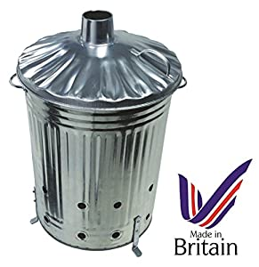 90litre 90l Extra Large Galvanised Metal Incinerator Fire Burning Bin With Special Locking Lid from Uk