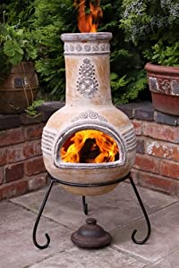 Azteca Large Yellow Outdoor Clay Chimenea