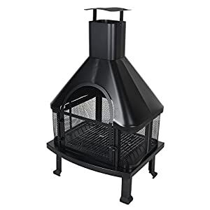 Azuma Kai Outdoor Fire Pit Steel Wood Stove Log Burner Bbq Charcoal Barbecue Chiminea Chimnea Patio Heater Mesh Guard Grate Poker by XS-Stcok.com Ltd