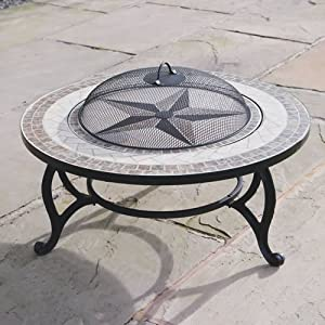 Buy Beacon Star 30 Inch Diam Outdoor Coffee Table With Integral Fire Pit Chromed Bbq Grid Spark