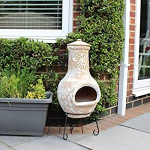 Bentley Garden Outdoor Medium Natural Clay Chimenea Mexican Chiminea Patio Heater from Bentley Garden
