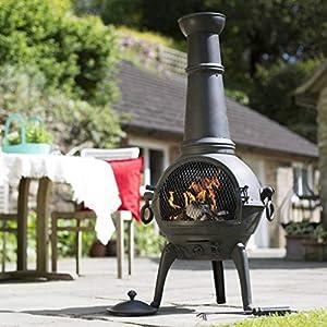Black 125cm Cast Iron Chiminea Chimenea Patio Heater