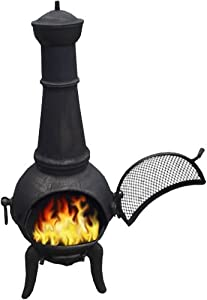 Black 125cm Cast Ironsteel Chimnea Patio Heatercooking Bbq Grill Chiminea
