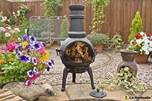 Black 85cm Cast Iron Chiminea With Pull Out Grill
