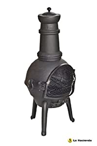 Black 95cm High Cast Iron Chiminea Chimenea Chimnea With Bbq Grill from La Hacienda