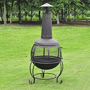 Black Bronze Cast Ironsteel Chimnea Patio Heatercooking Bbq Grill Fire Chimney 531mc by Oxford Street
