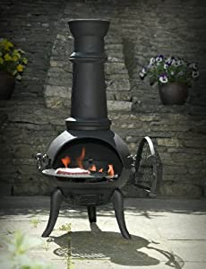 Black Cast Ironsteel Mix 105cm Chimenea Chiminea With Swing Out Grill For Bbq