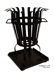 Black Steel 54cm High Fire Basket Wood Burner Brazier Patio Heater