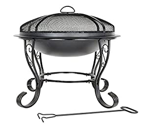 Black Steel Firebowl With Mesh Cover 61cm High By Buchanan by Buchanan Europe Ltd