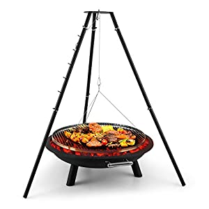 Blumfeldt Arco Trino Swivel Grill Fire Pit Bbq Tripod Stainless Steel 70 Cm Grill Surface Fire Pad With 15 Mm Sheet Steel Wire Rope Suspension Grate With 5 Locking Hooks Black by Blumfeldt