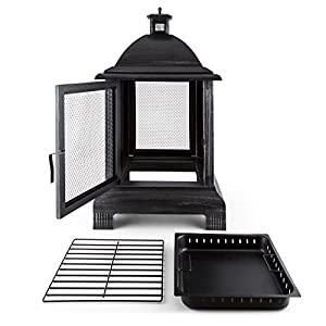 Blumfeldt Loreo Garden Fireplace Fire Pit Terrace Stove Fireplace Burnished Steel Spark Protection Lantern Design Ash Tray Ash Box Poker Sturdy Feet Cast Iron Black from Blumfeldt
