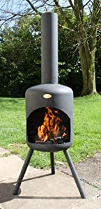Bonfeu 148cm High Steel Chiminea Chimenea With Grill