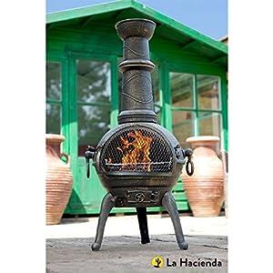 Bronze 112cm High Cast Iron Chiminea Chimenea Chimnea With Bbq Grill from La Hacienda